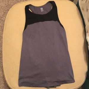 Gray and black workout top